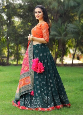 Dazzling Rama Green Readymade Lehenga Choli