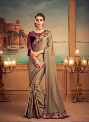 Dazzling Silk Beige Designer Saree