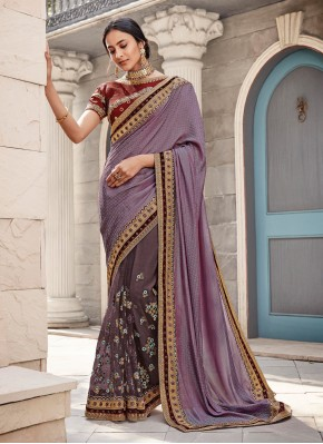 Delectable Embroidered Georgette Satin Classic Saree