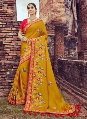 Delectable Embroidered Mustard Silk Saree