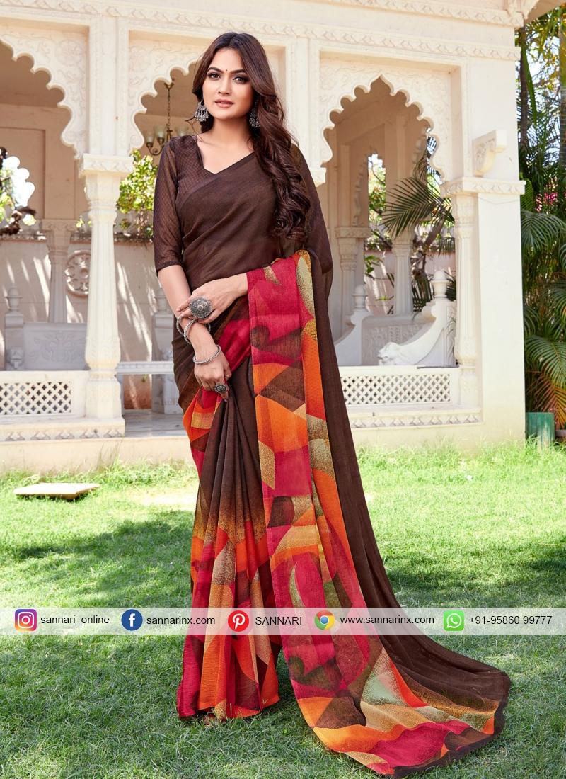 Delectable Multi Colour Printed Printed Saree