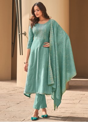 Delectable Muslin Sea Green Pant Style Suit