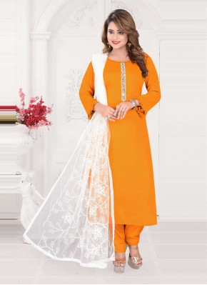 Delectable Mustard Embroidered Readymade Suit