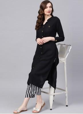 Delectable Rayon Black Plain Party Wear Kurti