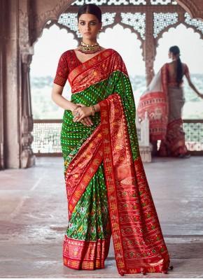 Delightful Fancy Patola Silk  Green Designer Traditional Saree