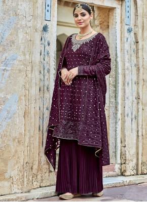 Delightful Georgette Purple Trendy Salwar Kameez