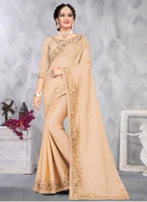 Delightful Satin Beige Embroidered Designer Saree