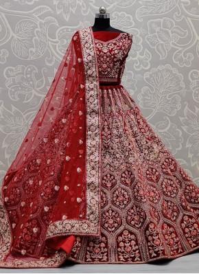 Delightful Velvet Sequins Red Lehenga Choli