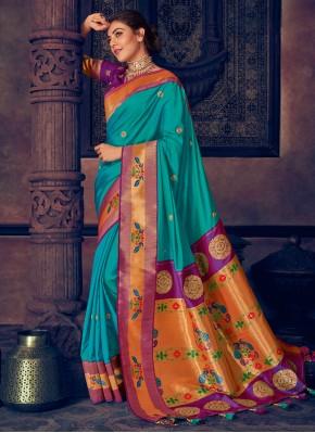 Delightful Weaving Aqua Blue Silk Contemporary Style Saree