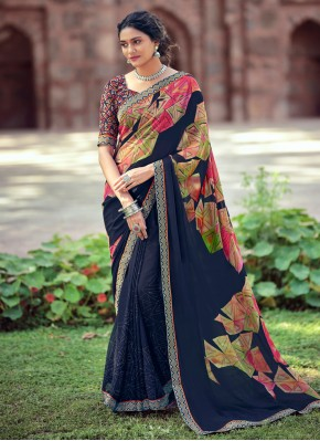Delightsome Abstract Print Blue Faux Georgette Printed Saree