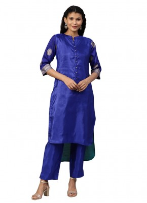 Delightsome Blue Poly Silk Designer Salwar Kameez