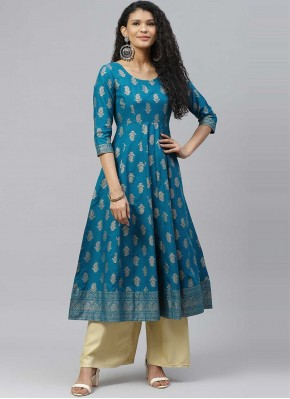 Delightsome Cotton Print Turquoise Designer Kurti