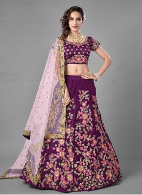 Delightsome Embroidered Purple Lehenga Choli