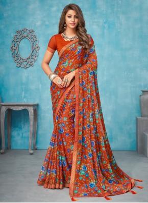 Delightsome Faux Chiffon Multi Colour Contemporary Saree