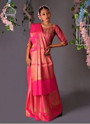 Delightsome Pink Mehndi Traditional Saree