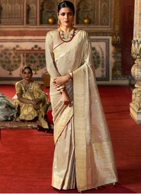 Delightsome Silk Fancy Beige Designer Traditional Saree