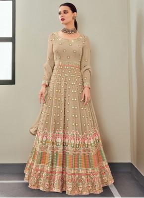 Demure Beige Embroidered Floor Length Anarkali Suit