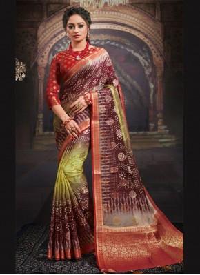 Demure Fancy Fabric Digital Print Designer Saree