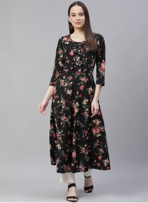 Demure Floral Print Polyester Party Wear Kurti