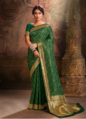 Demure Green Traditional Saree