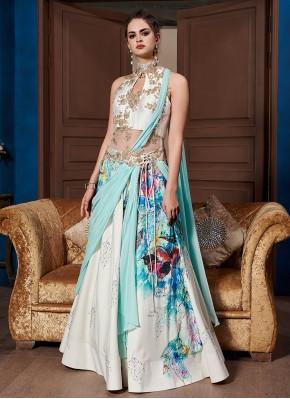 Demure Multi Colour Fancy Fabric Designer Gown