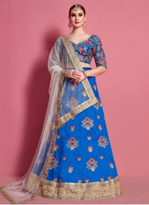 Deserving Art Silk Blue Embroidered A Line Lehenga Choli