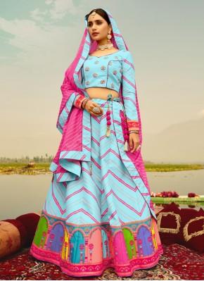 Deserving Blue Print Silk Readymade Lehenga Choli