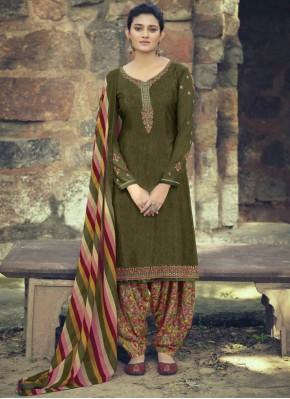 Deserving Embroidered Green Patiala Salwar Kameez