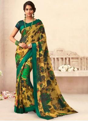 Deserving Faux Chiffon Multi Colour Floral Print Classic Saree
