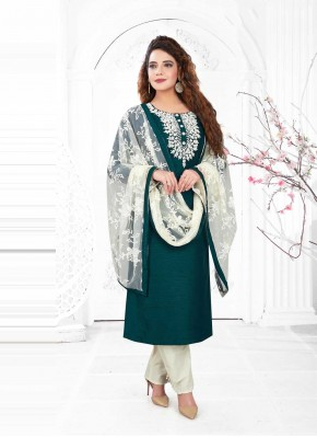 Deserving Green Embroidered Readymade Suit