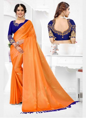 Deserving Orange Embroidered Organza Designer Traditional Saree