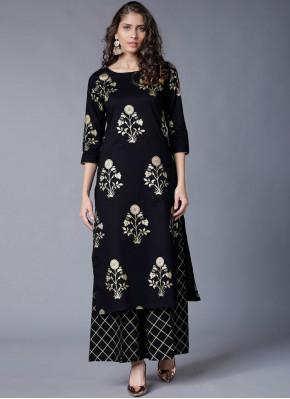 Deserving Rayon Foil print Black Party Wear Kurti