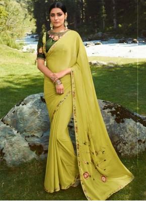 Deserving Silk Embroidered Classic Saree