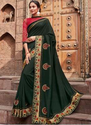 Deserving Silk Green Patch Border Classic Designer Saree
