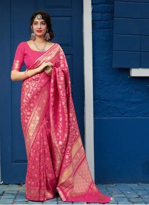 Deserving Silk Weaving Pink Designer Saree
