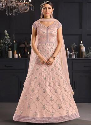 Deserving Stone Pink Net Salwar Kameez