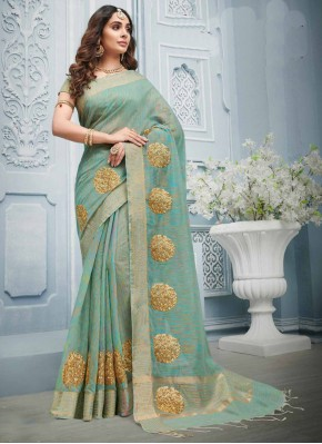 Designer Contemporary Style Saree Embroidered Cotton in Grey