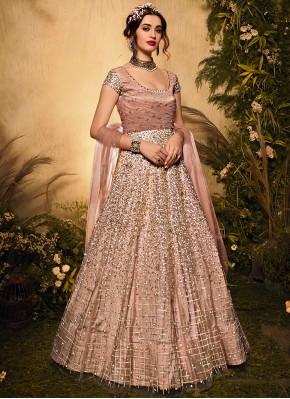 Designer Floor Length Suit Sequins Net in Pink