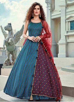 Designer Gown Digital Print Silk in Blue
