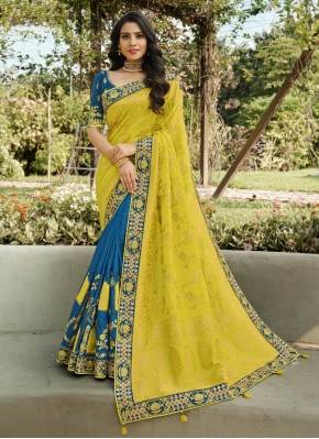 Designer Half N Half Saree Embroidered Banarasi Silk in Blue and Yellow