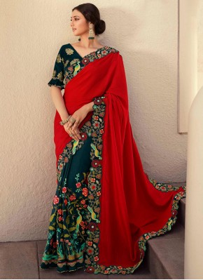 Designer Half N Half Saree Patch Border Fancy Fabric in Green and Red