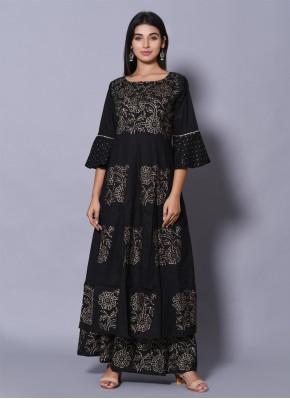 Designer Kurti Block Print Cotton in Black
