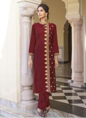 Designer Kurti Embroidered Viscose in Maroon