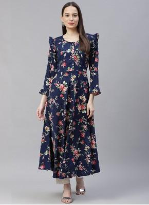 Designer Kurti Floral Print Polyester in Navy Blue