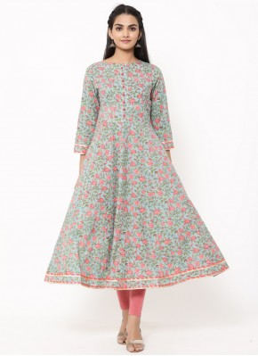 Designer Kurti Print Cotton in Multi Colour