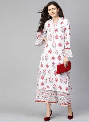 Designer Kurti Print Cotton in White