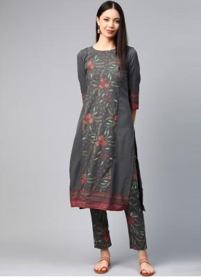 Designer Kurti Print Faux Crepe in Grey