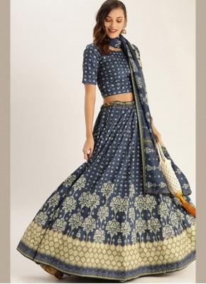 Designer Lehenga Choli Digital Print Silk in Blue