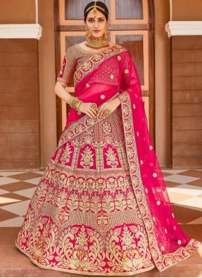 Designer Lehenga Choli Resham Velvet in Pink