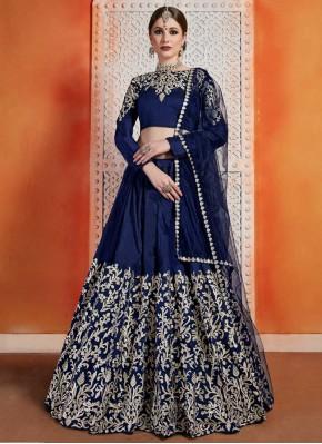 Designer Lehenga Choli Zari Art Silk in Navy Blue